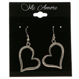 Heart Dangle-Earrings With Crystal Accents  Silver-Tone Color #4021