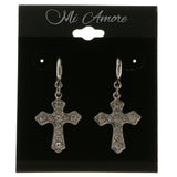 Cross Dangle-Earrings With Crystal Accents  Silver-Tone Color #4041