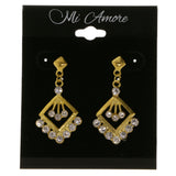 Gold-Tone Metal Dangle-Earrings With Crystal Accents #4004