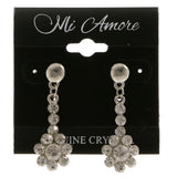 Flower Dangle-Earrings With Crystal Accents  Silver-Tone Color #4011