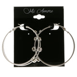 Silver-Tone Metal Hoop-Earrings With Crystal Accents #4037