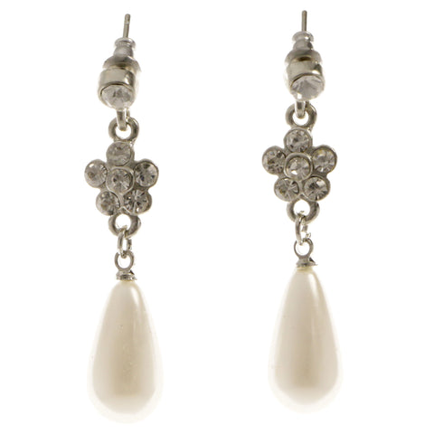Flower Dangle-Earrings With Crystal Accents  Silver-Tone Color #4028