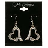 Heart Dangle-Earrings With Crystal Accents  Silver-Tone Color #4047