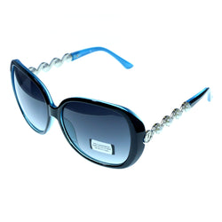 UV protection Silver jeweled bows Shatter resistant Oversize-Sunglasses With Logo Accents Blue & Gray Colored #3876