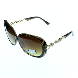 Tortoise-Shell & Brown Colored Composite Oversize-Sunglasses #3876