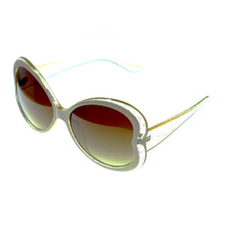 Two-Tone & Brown Colored Acrylic Butterfly-Sunglasses #3944