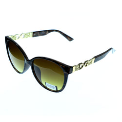 UV protection Shatter resistant Poly carbonated Oversize-Sunglasses With Logo Accents Tortoise-Shell & Yellow Colored #3872