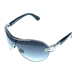 Silver-Tone & Black Colored Acrylic Goggle-Sunglasses #3947