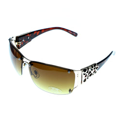 UV protection Semi-Rimless-Sunglasses Tortoise-Shell & Yellow Colored #3937