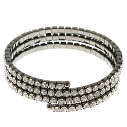 Dark-Silver-Tone Metal Rhinestone-Coil-Bracelet With Crystal Accents #4332