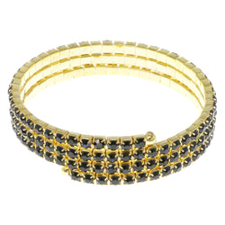 Blue & Gold-Tone Colored Metal Rhinestone-Coil-Bracelet With Crystal Accents #4333