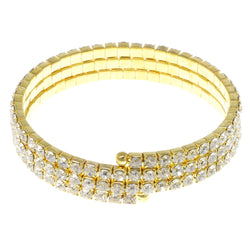 Gold-Tone Metal Rhinestone-Coil-Bracelet With Crystal Accents #4333