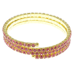 Pink & Gold-Tone Colored Metal Rhinestone-Coil-Bracelet With Crystal Accents #4333