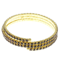 Purple & Gold-Tone Colored Metal Rhinestone-Coil-Bracelet With Crystal Accents #4333