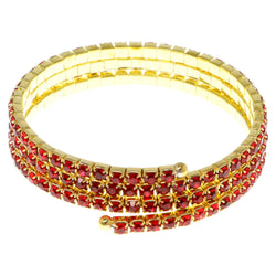 Red & Gold-Tone Colored Metal Rhinestone-Coil-Bracelet With Crystal Accents #4333