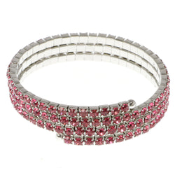 Pink & Silver-Tone Colored Metal Rhinestone-Coil-Bracelet With Crystal Accents #4331