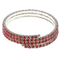 Red & Silver-Tone Colored Metal Rhinestone-Coil-Bracelet With Crystal Accents #4331