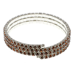 Brown & Silver-Tone Colored Metal Rhinestone-Coil-Bracelet With Crystal Accents #4331