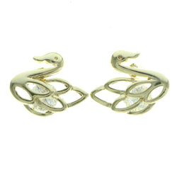 Cubic Zirconia Swan Stud-Earrings  With Crystal Accents Gold-Tone Color #2729