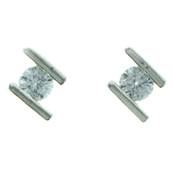 Cubic Zirconia Stud-Earrings With Crystal Accents  Silver-Tone Color #2732