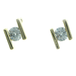 Cubic Zirconia Stud-Earrings With Crystal Accents  Gold-Tone Color #2731