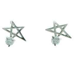 Cubic Zirconia Star Stud-Earrings  With Crystal Accents Silver-Tone Color #2734