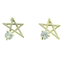 Cubic Zirconia Star Stud-Earrings  With Crystal Accents Gold-Tone Color #2733
