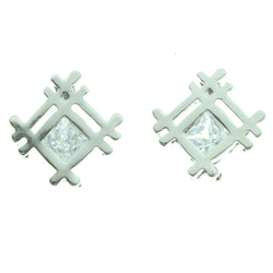 Cubic Zirconia Abstract Lattice Stud-Earrings  With Crystal Accents Silver-Tone Color #2736