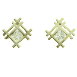 Cubic Zirconia Abstract Lattice Stud-Earrings  With Crystal Accents Gold-Tone Color #2735