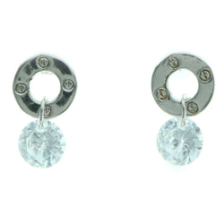 Cubic Zirconia Dangle-Earrings With Crystal Accents  Silver-Tone Color #2740