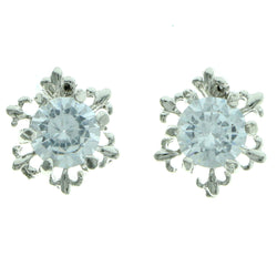 Cubic Zirconia Snow Flake Stud-Earrings  With Crystal Accents Silver-Tone Color #2742