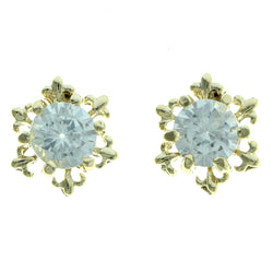 Cubic Zirconia Snow Flake Stud-Earrings  With Crystal Accents Gold-Tone Color #2741