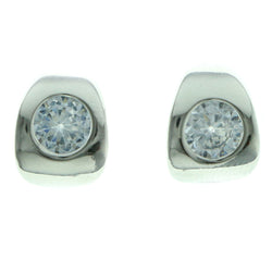 Cubic Zirconia Stud-Earrings With Crystal Accents  Silver-Tone Color #2744
