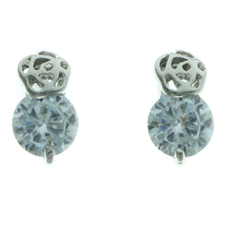 Cubic Zirconia Stud-Earrings With Crystal Accents  Silver-Tone Color #2746