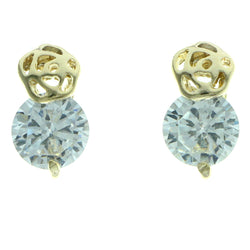 Cubic Zirconia Stud-Earrings With Crystal Accents  Gold-Tone Color #2745