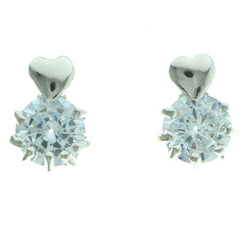 Cubic Zirconia Heart Stud-Earrings  With Crystal Accents Silver-Tone Color #2747