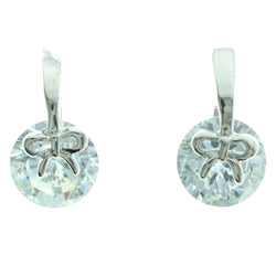 Cubic Zirconia Bow Dangle-Earrings  With Crystal Accents Silver-Tone Color #2750