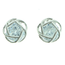 Cubic Zirconia Abstract Flower Stud-Earrings  With Crystal Accents Silver-Tone Color #2752