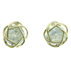 Cubic Zirconia Abstract Flower Stud-Earrings  With Crystal Accents Gold-Tone Color #2751