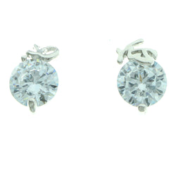 Cubic Zirconia Yes No Stud-Earrings With Crystal Accents Silver-Tone Color #2754