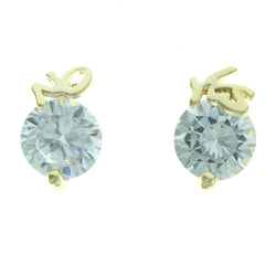 Cubic Zirconia Yes No Stud-Earrings With Crystal Accents Gold-Tone Color #2753