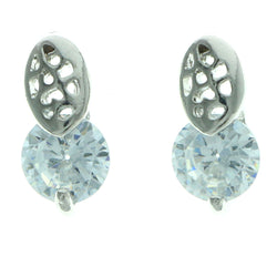 Cubic Zirconia Stud-Earrings With Crystal Accents  Silver-Tone Color #2756