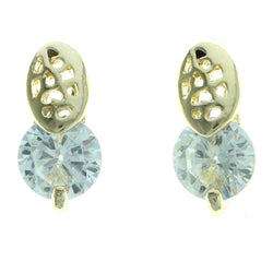 Cubic Zirconia Stud-Earrings With Crystal Accents  Gold-Tone Color #2755
