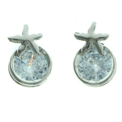 Cubic Zirconia Star Stud-Earrings  With Crystal Accents Silver-Tone Color #2758