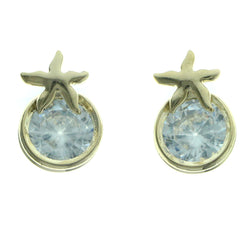 Cubic Zirconia Star Stud-Earrings  With Crystal Accents Gold-Tone Color #2757