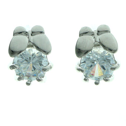 Cubic Zirconia Butterfly Stud-Earrings  With Crystal Accents Silver-Tone Color #2760
