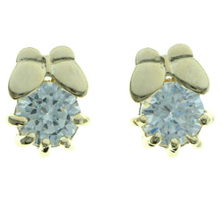 Cubic Zirconia Butterfly Stud-Earrings  With Crystal Accents Gold-Tone Color #2759