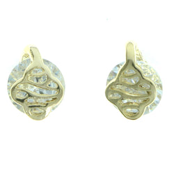 Cubic Zirconia Stud-Earrings With Crystal Accents  Gold-Tone Color #2761