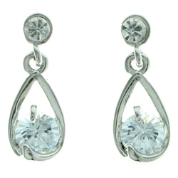 Cubic Zirconia Dangle-Earrings With Crystal Accents  Silver-Tone Color #2764
