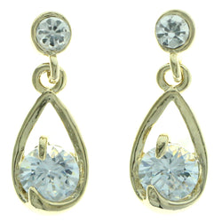 Cubic Zirconia Dangle-Earrings With Crystal Accents  Gold-Tone Color #2763